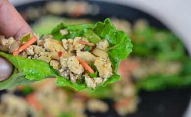 Asian lettuce wraps served.
