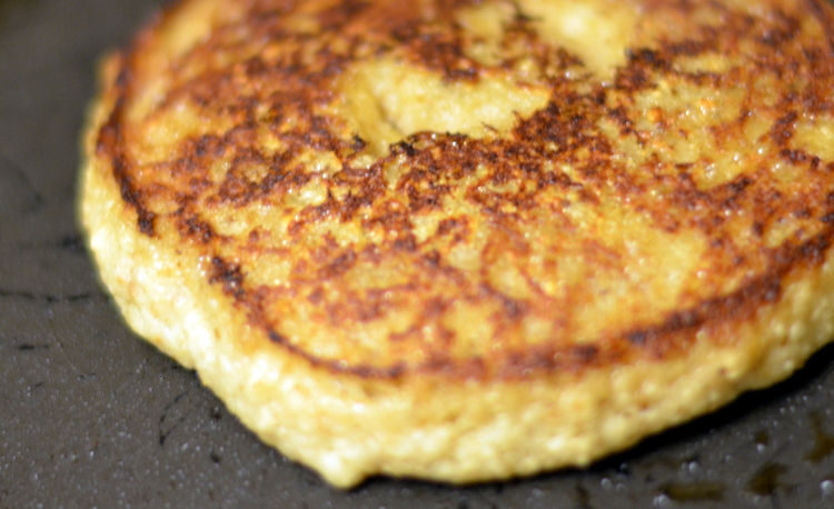 Golden Brown Close up of matzah pancake on fry pan for Matzah Pancakes Recipe