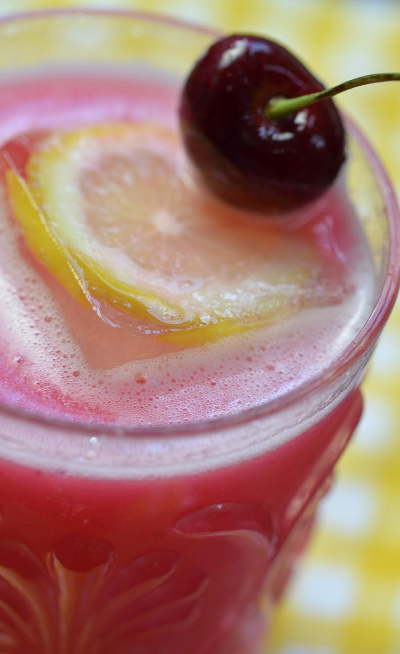 Cherry lemonade made in our Vitamix.
