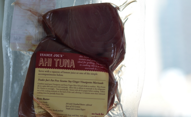 Frozen Ahi Tuna Steak in plastic packaging from Trader Joe's