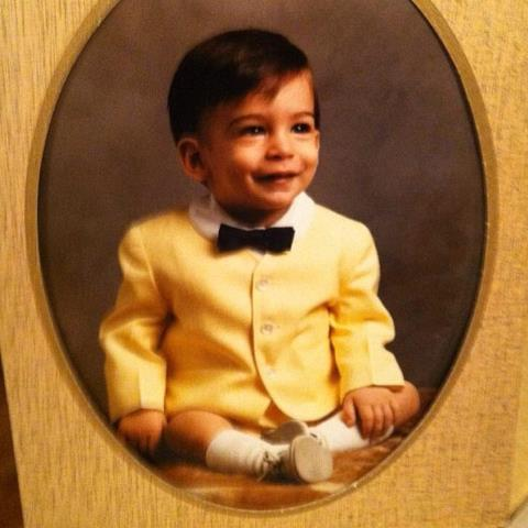 Old family photo of 1 year old Lenny Gale in yellow suit and black bowtie for Cake Batter Smoothie page