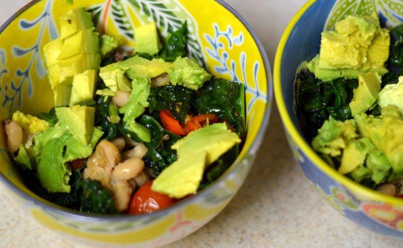 View of bowl after adding avocado to Quinoa burrito bowl