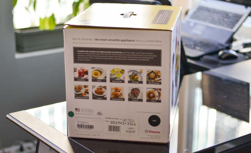 Picture of side of Vitamix Pro 300 box