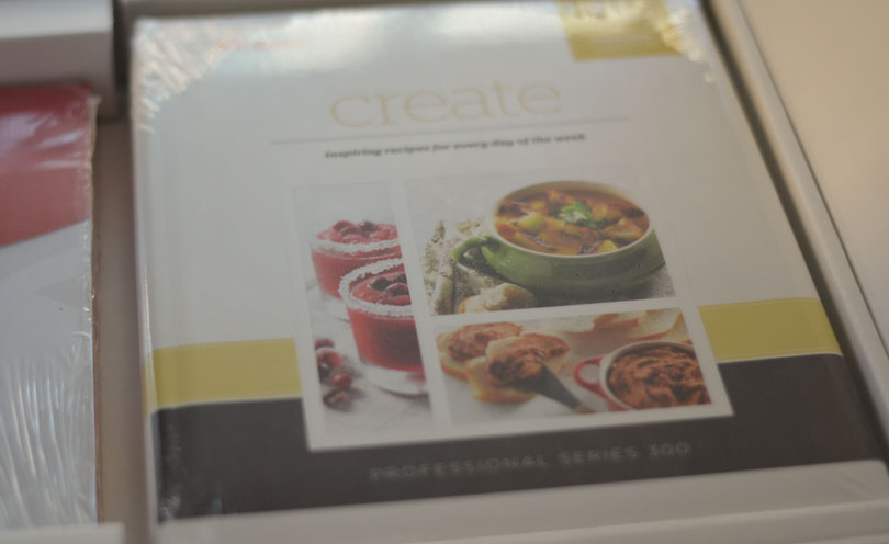 Picture of unwrapped cookbook that comes with Vitamix Pro 300-10