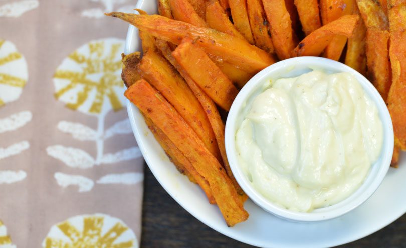 Vegan aioli made in our Vitamix served with sweet potato fries.