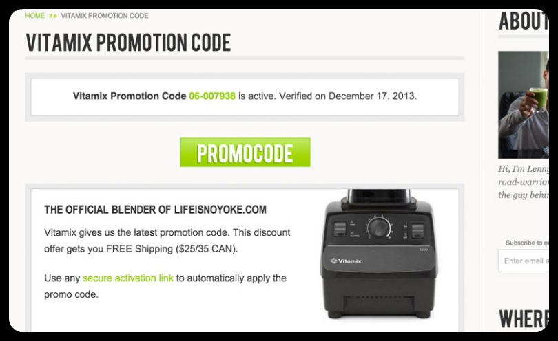 Vitamix promotion code page life is noyoke website redesign 2013