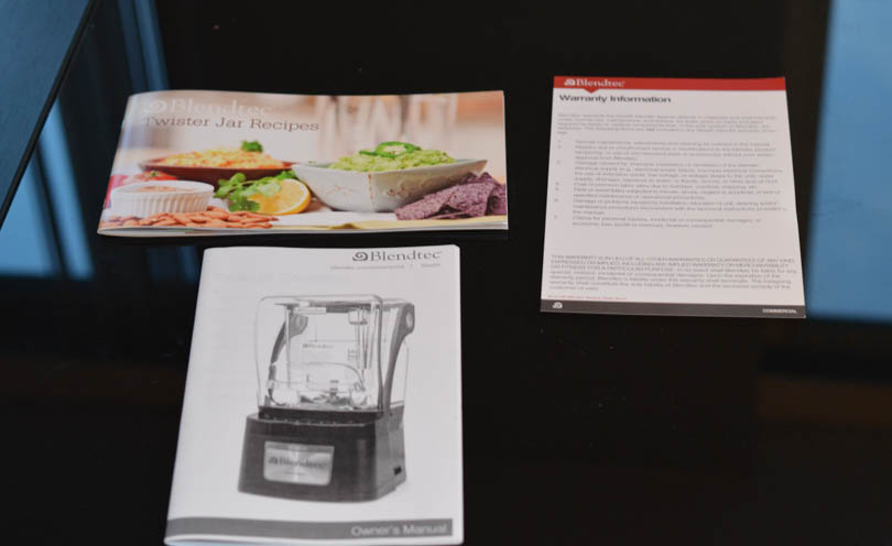 Recipes, warranty info and user guide that come with the Blendtec Stealth.