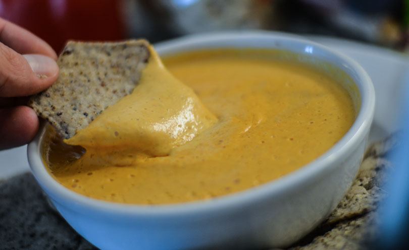 Cashew queso served