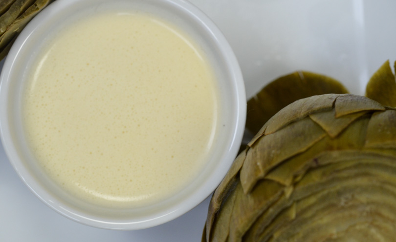Garlic butter dipping sauce made in our Vitamix.