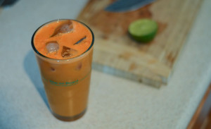 Carrot juice served over ice