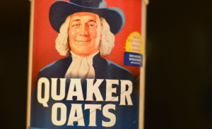 Instant oats in front of black background