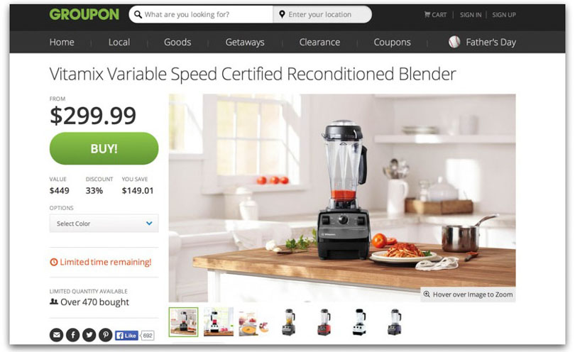 Screenshot of Vitamix deal on Groupon.