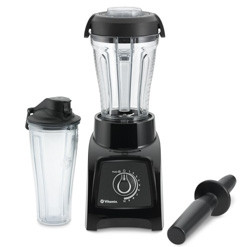 Vitamix S30 with two containers and tamper against white background.