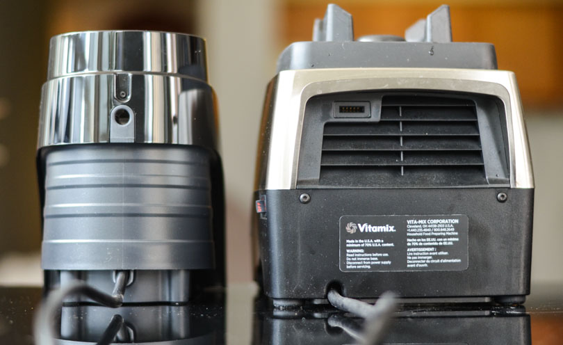 Vitamix S30 and Pro 750 side-by-side facing backwards.
