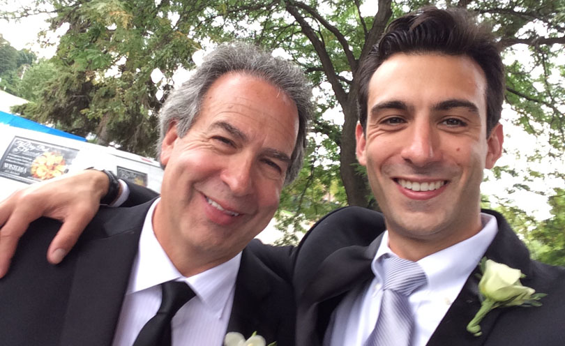 Lenny Gale and Dad in tuxes at Kayla's wedding on Labor Day Sunday
