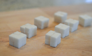 8 smaller sugar cubes. 2 cm on each side.