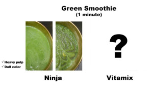Green smoothie made by ninja blender. Heavy pulp and dull color.