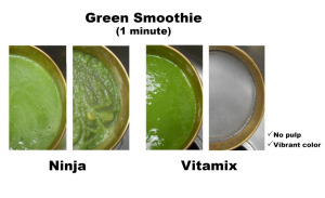 Green smoothie vitamix next to original image of same thing made in Ninja. Vitamix version has no pulp and vibrant color.