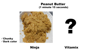 Peanut Butter made in Ninja Blender. Chunky and dark color.