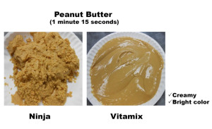 Peanut Butter made Vitamix next to same thing made in Ninja. Vitamix is creamy and bright color.