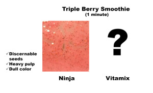 Triple berry smoothie made in Ninja Blender. Seeds, pulp and dull color.
