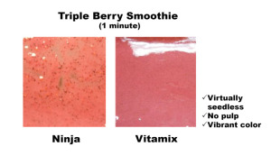 Triple berry smoothie in vitamix next to original Ninja results. Vitamix is seedless, no pulp and vibrant color.