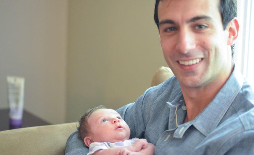 Lenny with newborn baby Gabby.