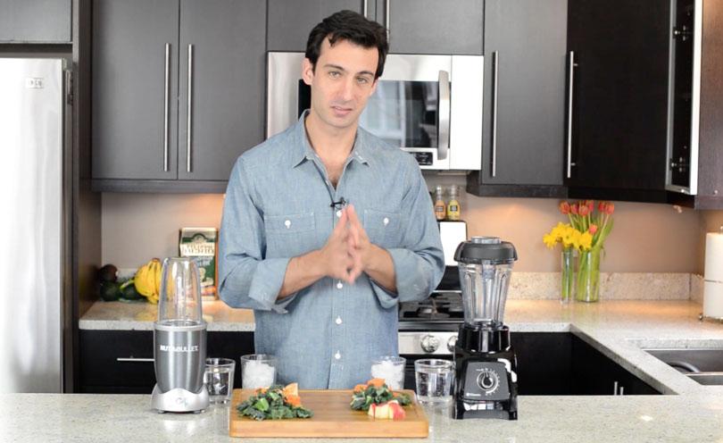 Lenny Gale comparing Vitamix vs Nutribullet in YouTube video.