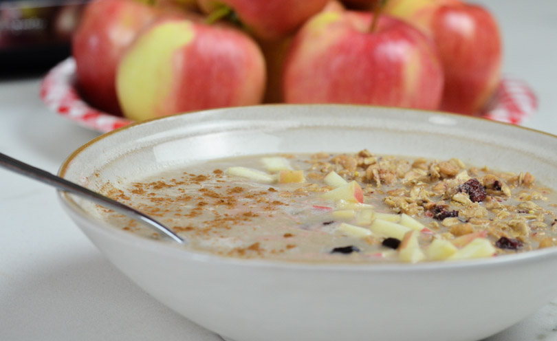 Apple pie smoothie bowl made in our Vitamix.