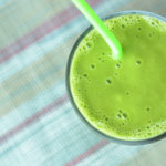 Carolynes green smoothie made in a Vitamix.
