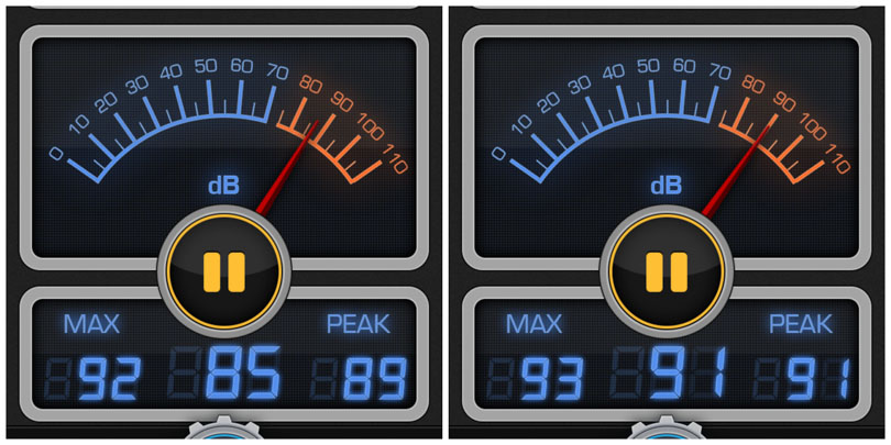 Decibel readings for the Vitamix 780 and Pro 750.