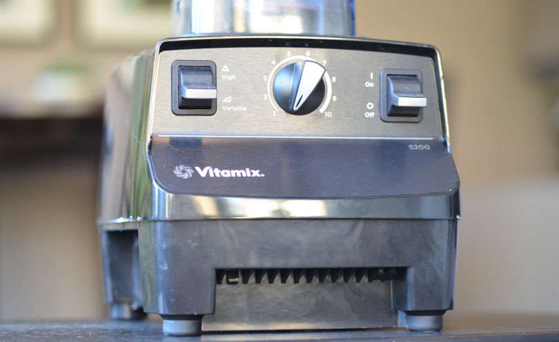A Vitamix 5200 demonstrating the classic switches and dial design.