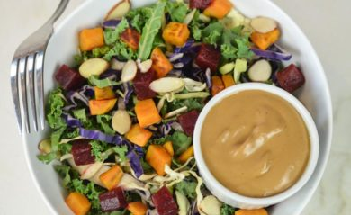 Balsamic Vinaigrette dressing on colorful salad featured by Life is NOYOKE.