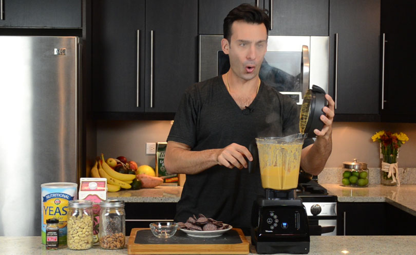 Making cashew queso, one of Lenny Gale's favorite Vitamix recipes
