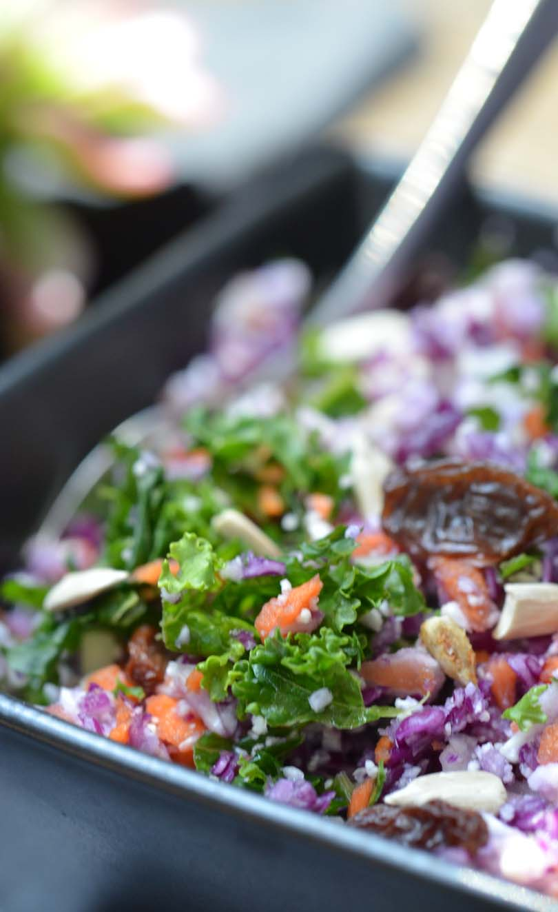 Close up look at a bowl of detox salad made in our Vitamix.