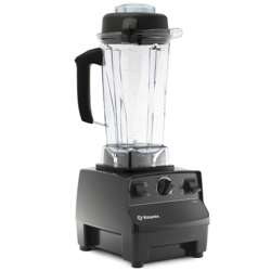 A black Vitamix 5200 in front of a white background.