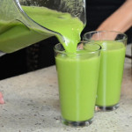 I am spicy hot green juice being poured into tall glass.