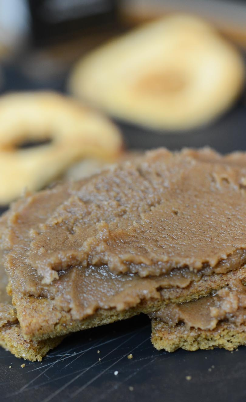 Apple cinnamon nut butter on a graham cracker.
