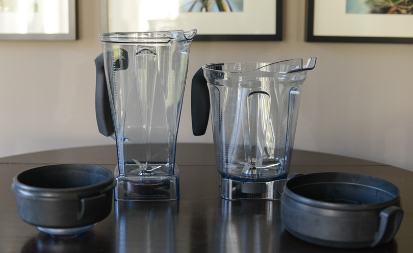 Standard and low profile 64 ounce Vitamix containers side-by-side.