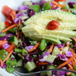 Asian slaw salad served.