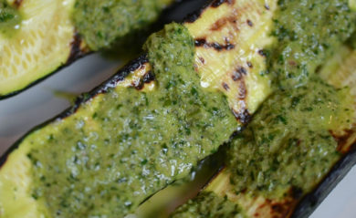 Chimichurri served over zucchini.