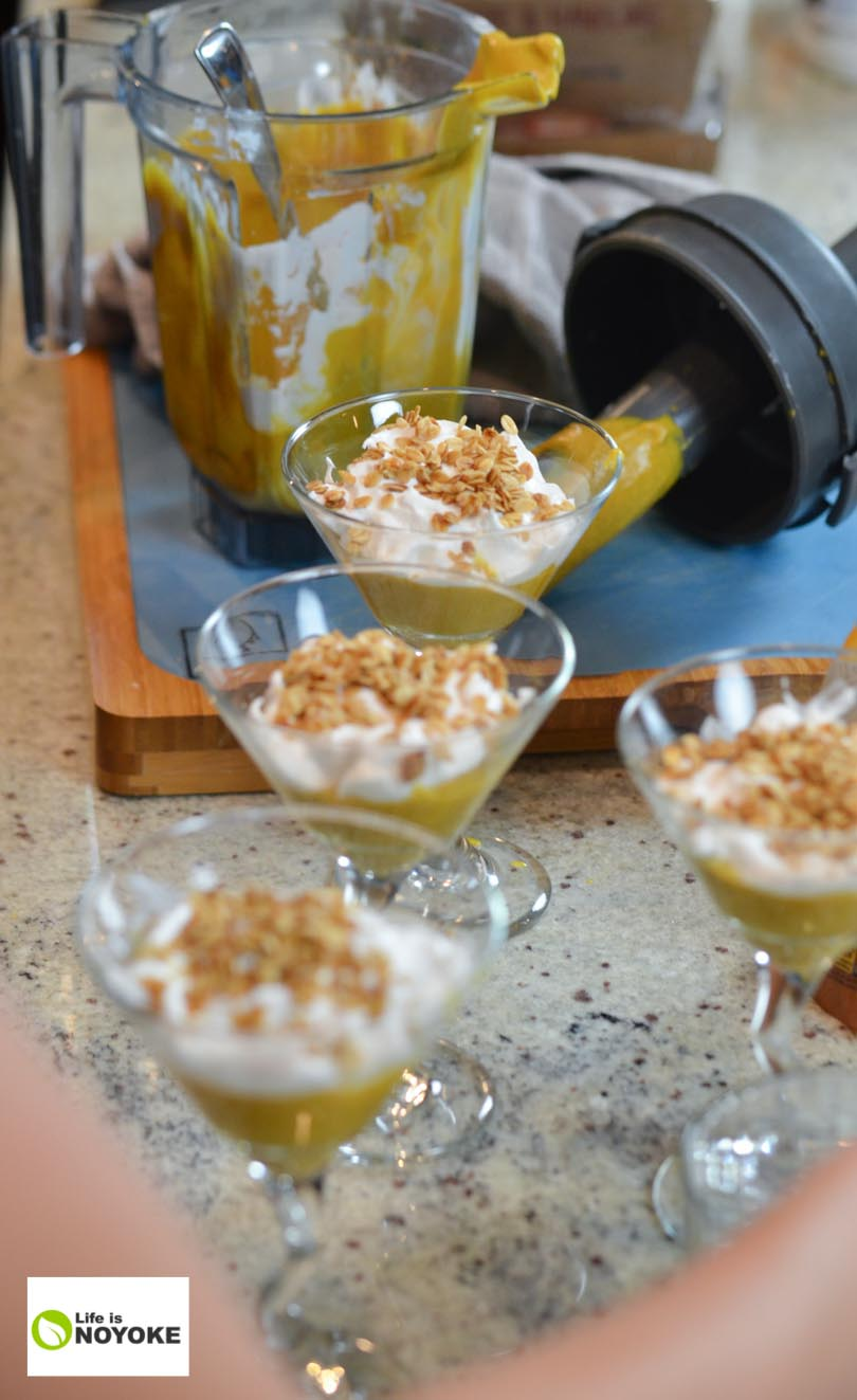 Making pumpkin parfaits with our Vitamix.
