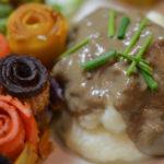 Mushroom gravy served over mash potatoes.