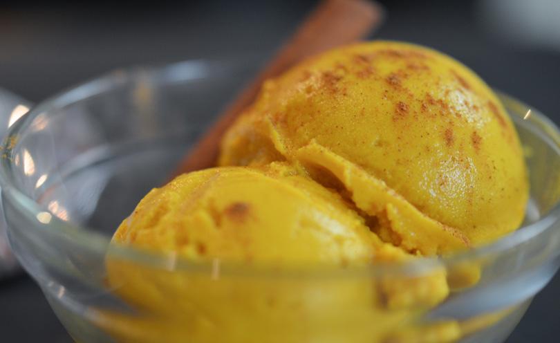Pumpkin ice cream closeup.