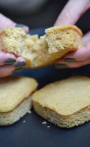 Pulling apart vegan cornbread.