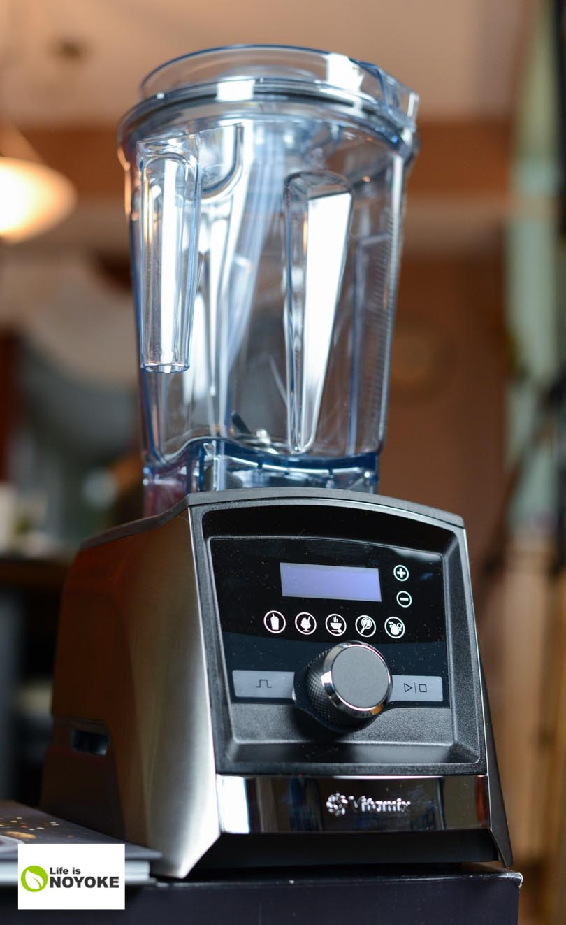 Vertical image of a Vitamix Ascent 3500 model up close.