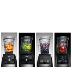 All four Vitamix Ascent models side by side with fruit in containers.