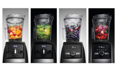 Vitamix Ascent models 2300, 2500, 3300, and 3500 next to each other.