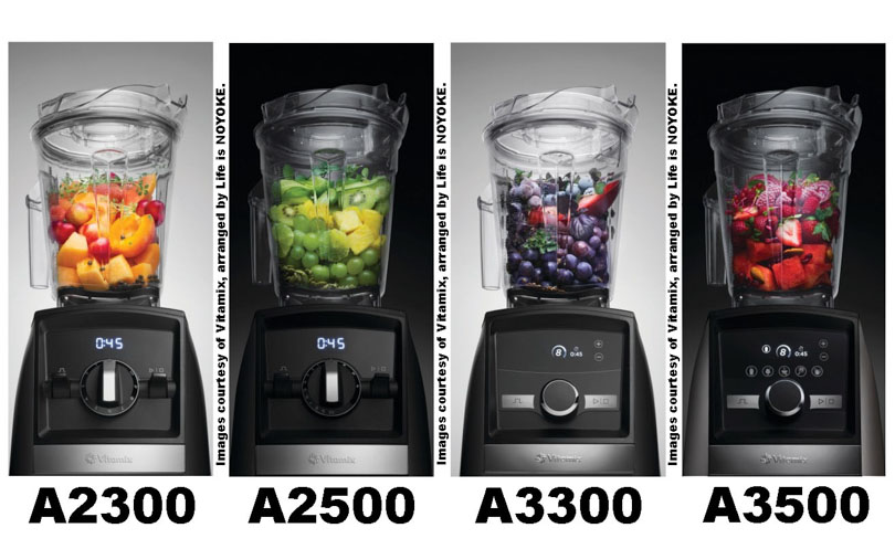 Vitamix Ascent models 2300, 2500, 3300, and 3500 next to each other arranged by Life is NOYOKE.