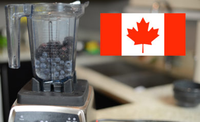 Photograph of Vitamix Pro 750 with Canadaian flag image in foreground.